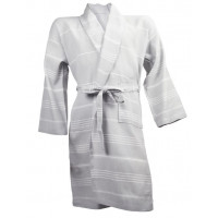 The One Towelling Hamam Badjas Light Grey/White