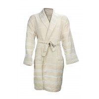 The One Towelling Hamam Badjas Beige/White