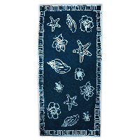 The One Towelling Beach Towels T1-90 Hawaii 90 x 190 600gram Navy/Light Blue
