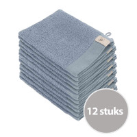 Walra Soft Cotton Washandjes 15 x 21 550gram Blue - 12 stuks
