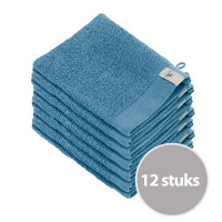 Walra Soft Cotton Washandjes 15 x 21 550gram Petrol - 12 stuks