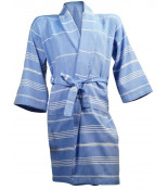 The One Towelling Hamam Badjas Blue/White