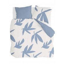 Walra Dekbedovertrek Simple Leaves Off White / Jeans Blauw