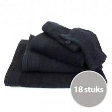 Deluxe pakket badtextiel 550 gram Zwart - 18 stuks