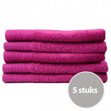 The One Gasten Handdoek 450 gram 30 x 50 cm Magenta (5 stuks)