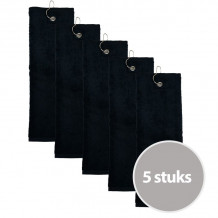 The One Golfhanddoek 450 gram Zwart (5 stuks)