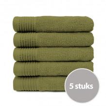The One Badhanddoek Voordeelpakket 450 gram 70x140 cm Olive Green (5 stuks)