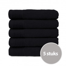 The One Handdoek Deluxe 50x100 550 gr Zwart (5 stuks)