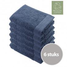 Walra Remade Cotton Handdoek 70 x 140 cm 550 gram Blauw - 6 stuks